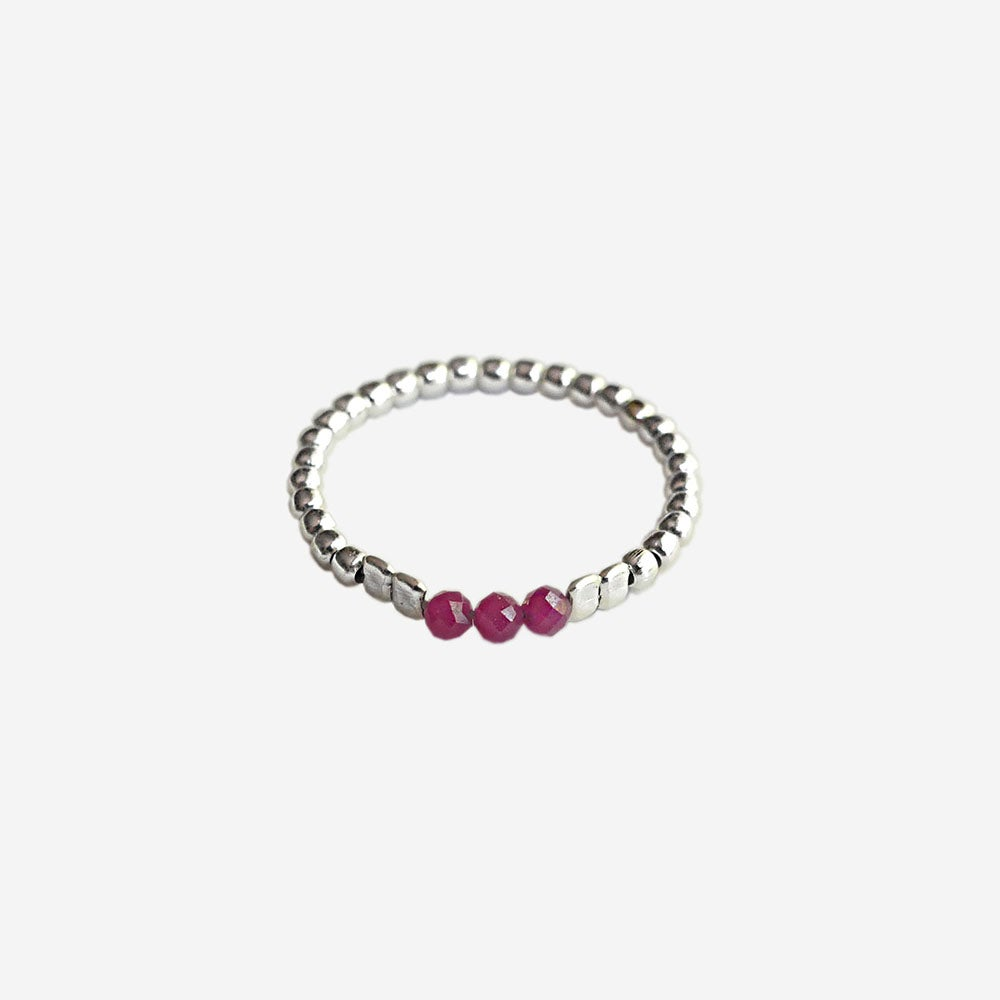 """Image of SOLDES - BAGUE AGATE ROUGE """"RUBIS"""" - Taille 53"""