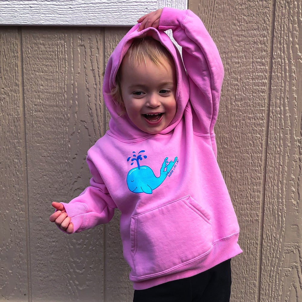 "Image of ""Monty"" the Whale Fleece Toddler Hoody - Candy Pink"