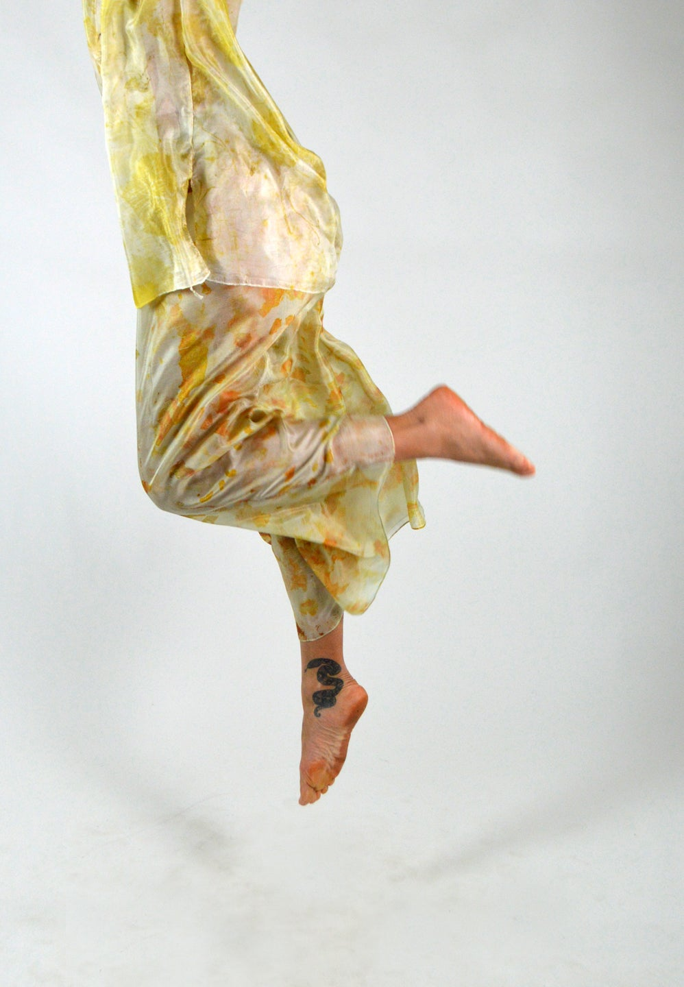 Image of golden feather weight silk dance pants
