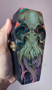 Image of Cthulhu Painting on Mini wooden Coffin
