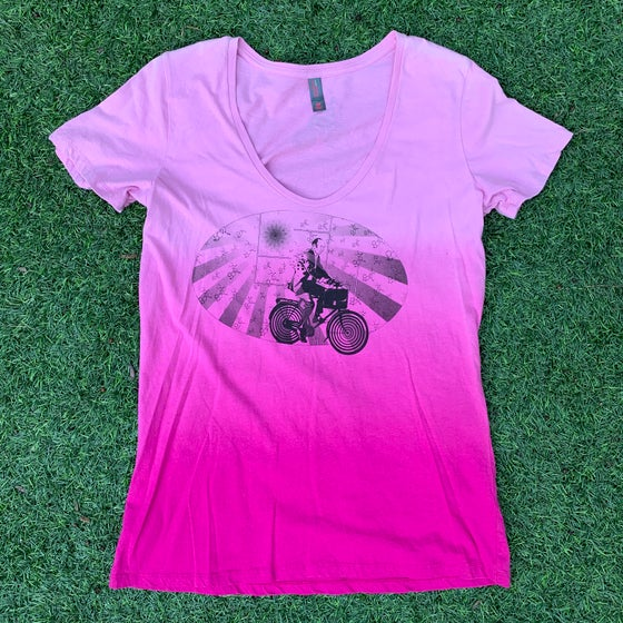 Image of Albert Hofmann Bicycle Day Tribute Ladies Tee in Ombré Dye