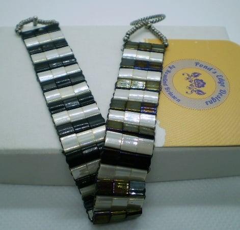 Image of Black and White Tila Bead Bracelet