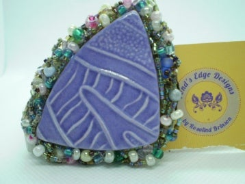 Image of Purple Hand Embroidered Brooch
