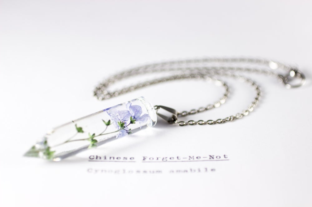 Image of Chinese Forget-Me-Not (Cynoglossum amabile) - Medium Crystalline Pendant #1