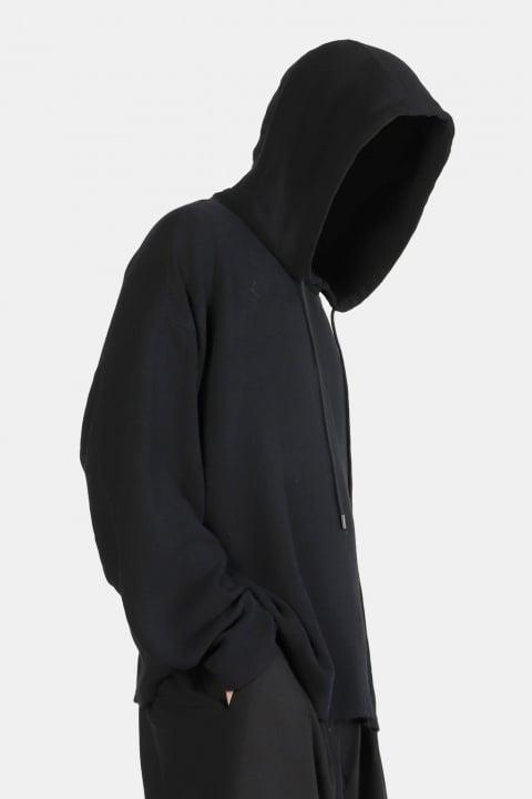 Image of IMMENSE - 麻質不收邊連帽衛衣 (黑)
