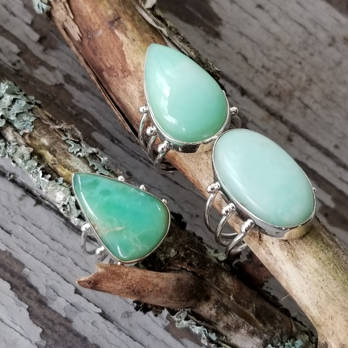 Image of Tres Heilos Rings - Chrysoprase in Sterling