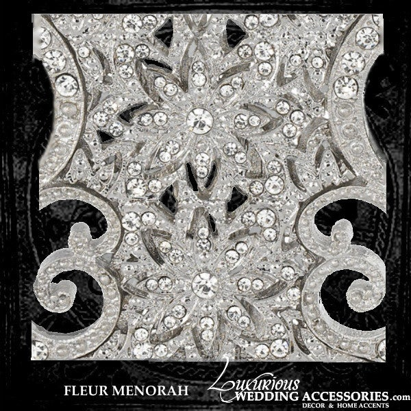 Image of Bliss Fleur Silver Swarovski Crystal Menorah