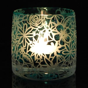 Image of Teal tealight holder with papercut design
