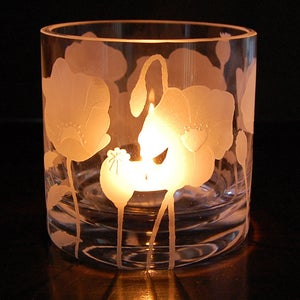 Image of Large tealight holder with poppies design