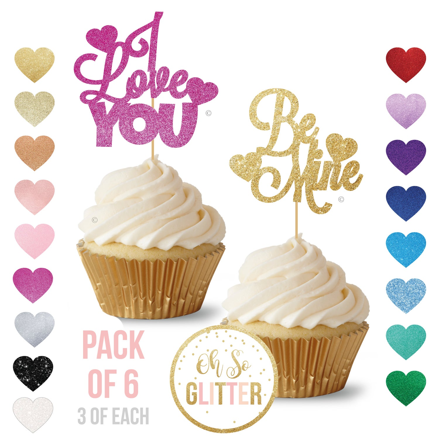 Image of Valentines Day Cupcake Toppers - pack of 6