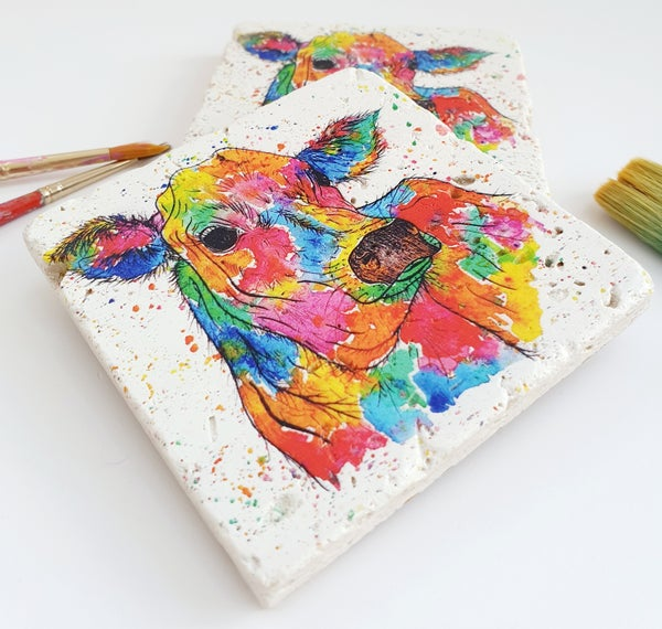 Image of 'Rainbow Cow' Stone Coaster