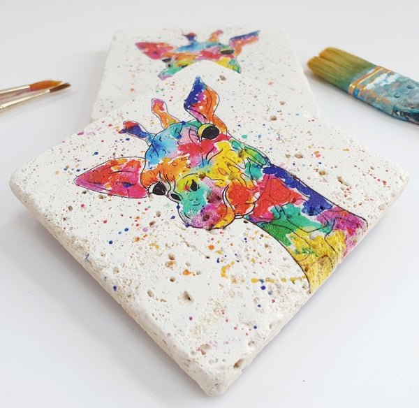 Image of 'Rainbow Giraffe' Stone Coaster