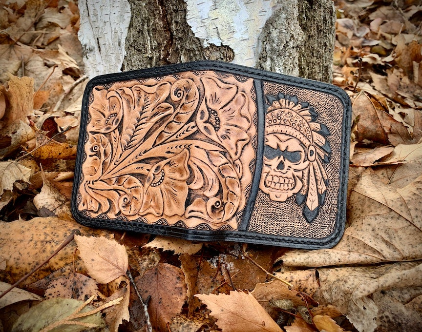 "Image of ""Ghost Dance"" Custom Bi-Fold Wallet with Cash Slot and Four Card Slots."