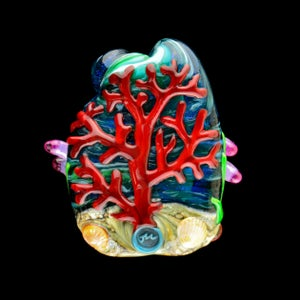 Image of XXL. Clownfish Family in a Pink Anemone - Lampwork GLass Sculpture Bead