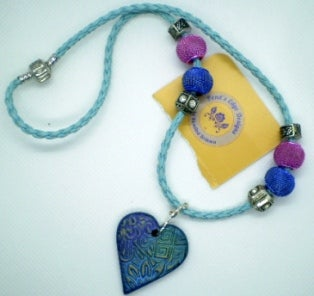 Image of Blue Leather Necklace with Clay Pendant