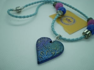 Blue Leather Necklace with Clay Pendant