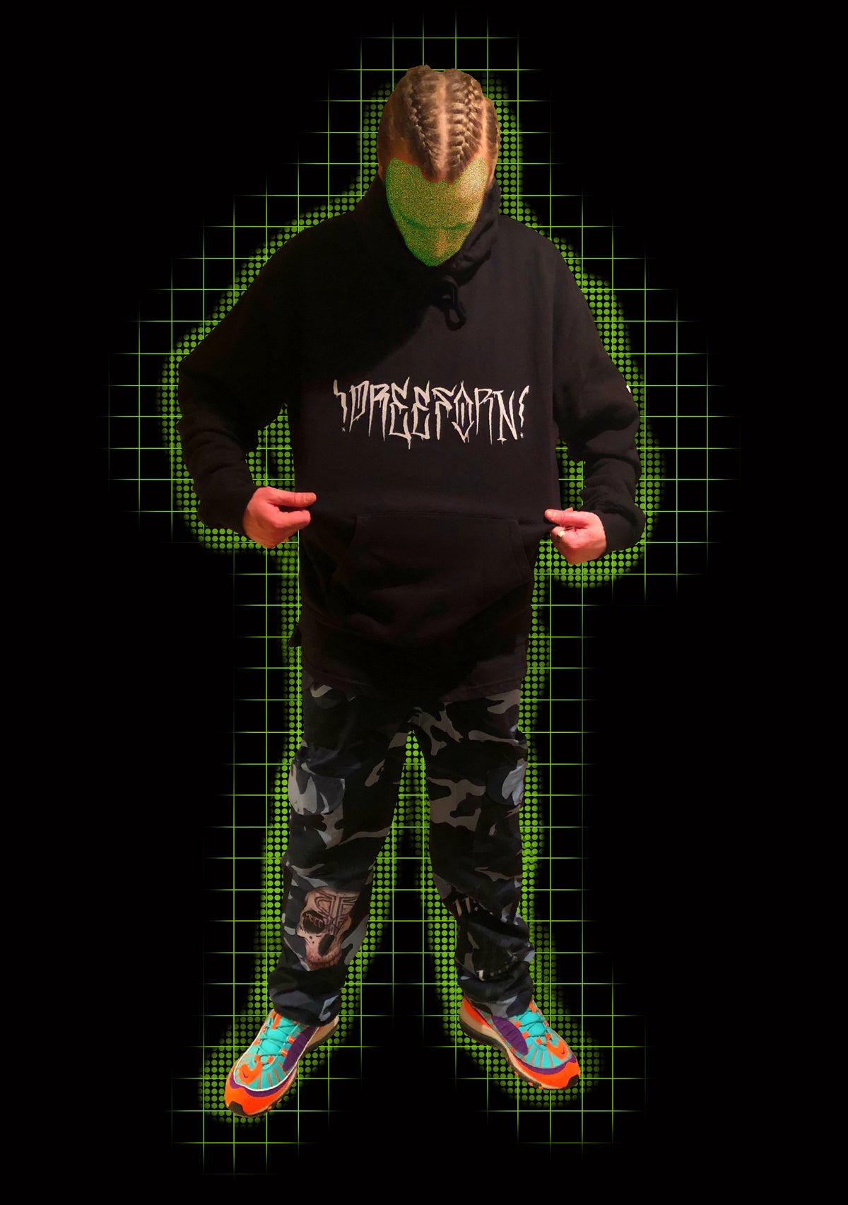 Image of PREE FORN front hand style, sleeve print, and back image hoodie