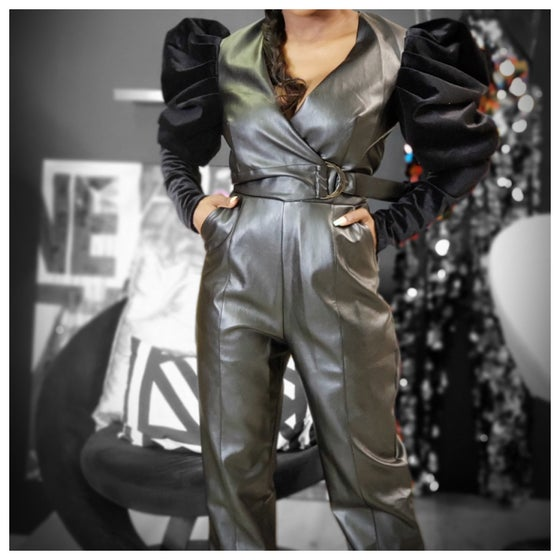 "Image of The ""Onyx"" faux leather Jumpsuit"