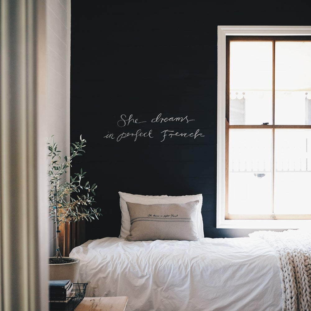 Image of french consul cushion cover + hand stitched words