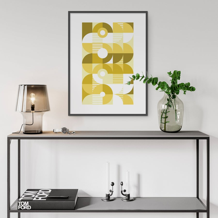 Image of Monochromatic Machine in Gold Art Print