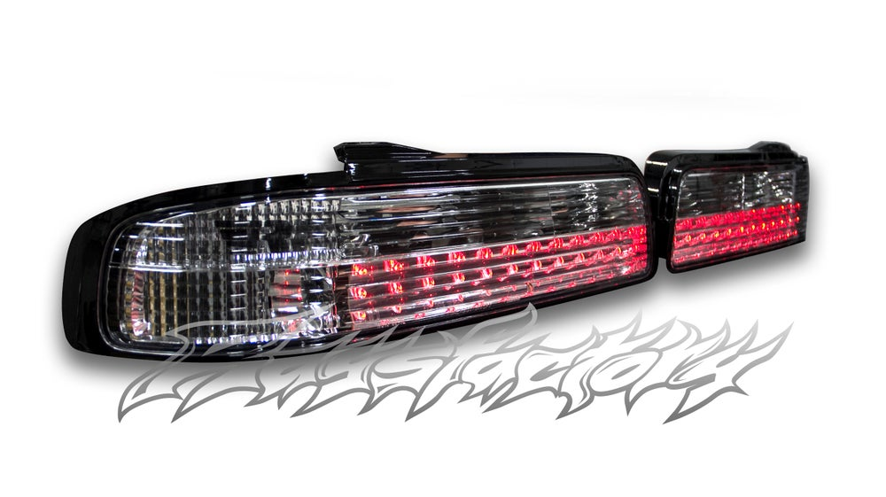 Image of Nissan S13 Silvia (1989-1994 Nissan 240sx Coupe) All Clear Tail Lights LED CHROME HOUSING