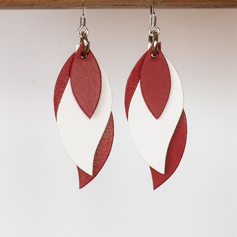 Image of Handmade Kangaroo leather leaf earrings - red, white, rose red [LRE-094]