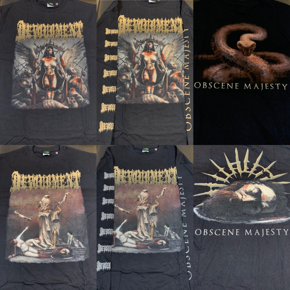 """Image of Officially Licensed Devourment """"Obscene Majesty"""" Cover and Back Cover art Short/Long Sleeve Shirts!!"""
