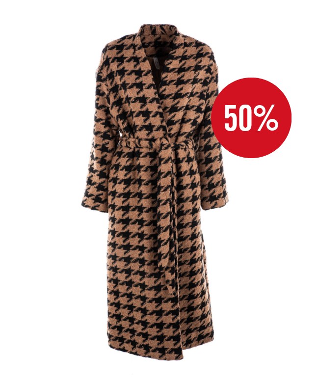 Image of CAPPOTTO LUMINA PIED DE POULE BROWN/NERO