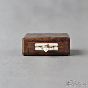 Image of Square rotating ring display box, secret proposal box in walnut