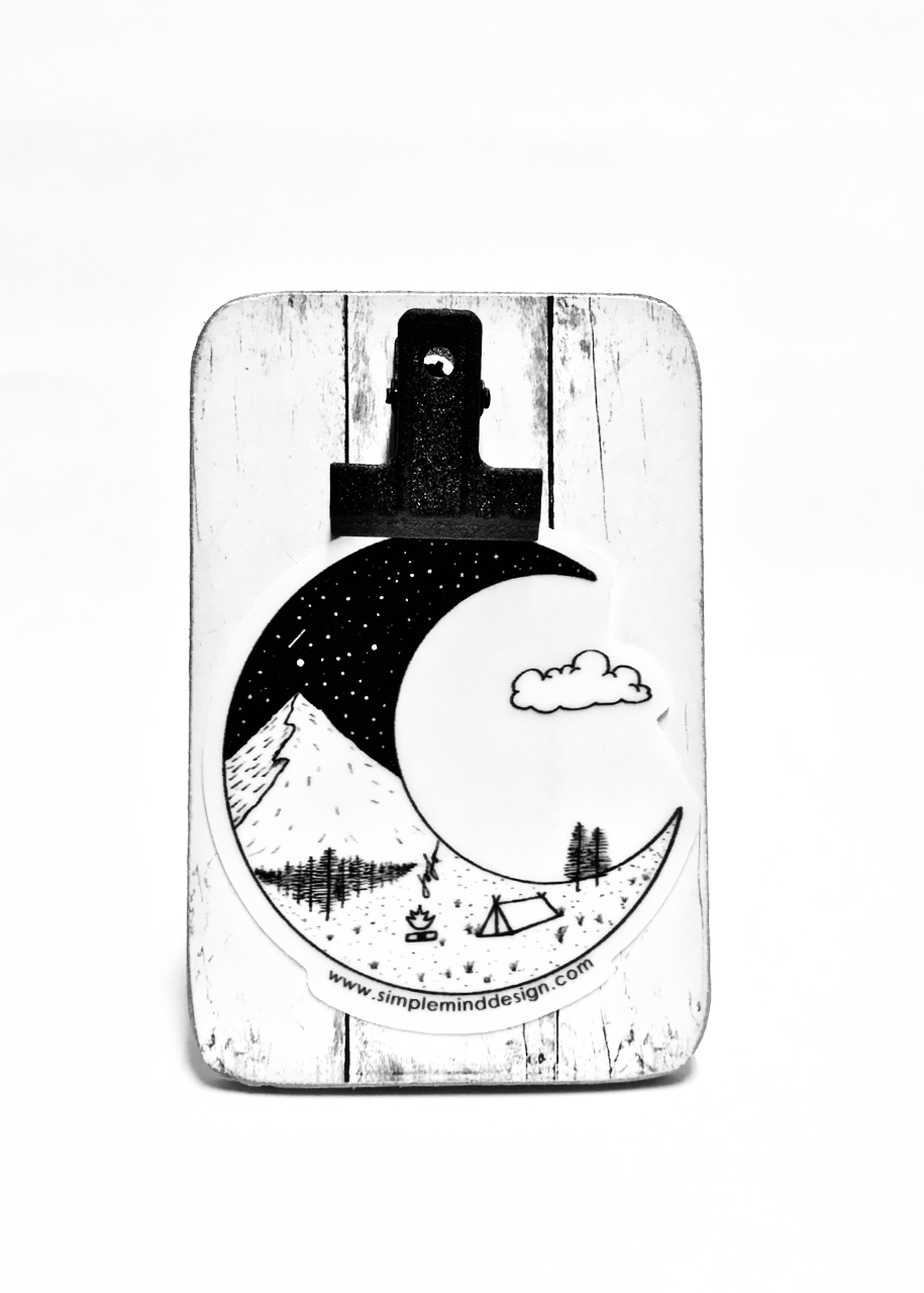 Image of Crescent Moon Mountain Sticker