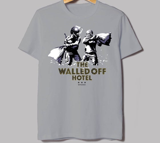 Image of Banksy Walled Off Hotel Pillow Fight T-Shirt Youth LG
