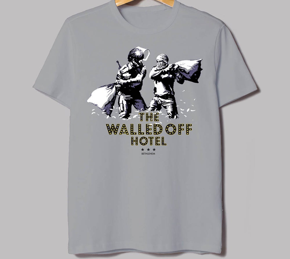 Image of Banksy Walled Off Hotel Pillow Fight T-Shirt Youth Medium