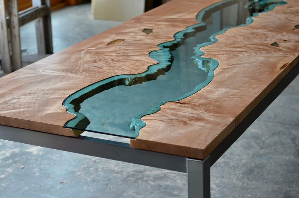 Image of maple burl river dining table