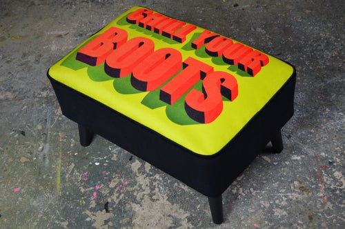 Image of New Mid Century Modern Style Footstool Ottoman Chill Your Boots LIMITED EDITION