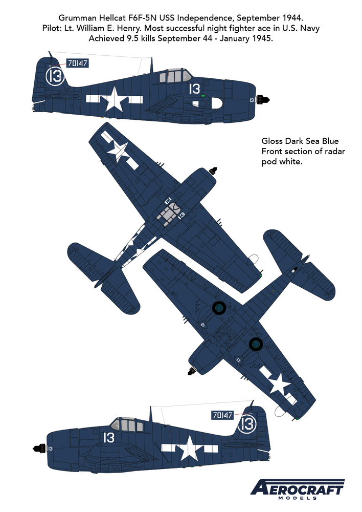 Image of Hellcat F6F-5N (Early 5) Night fighter conversion with decals for aircraft No. 13