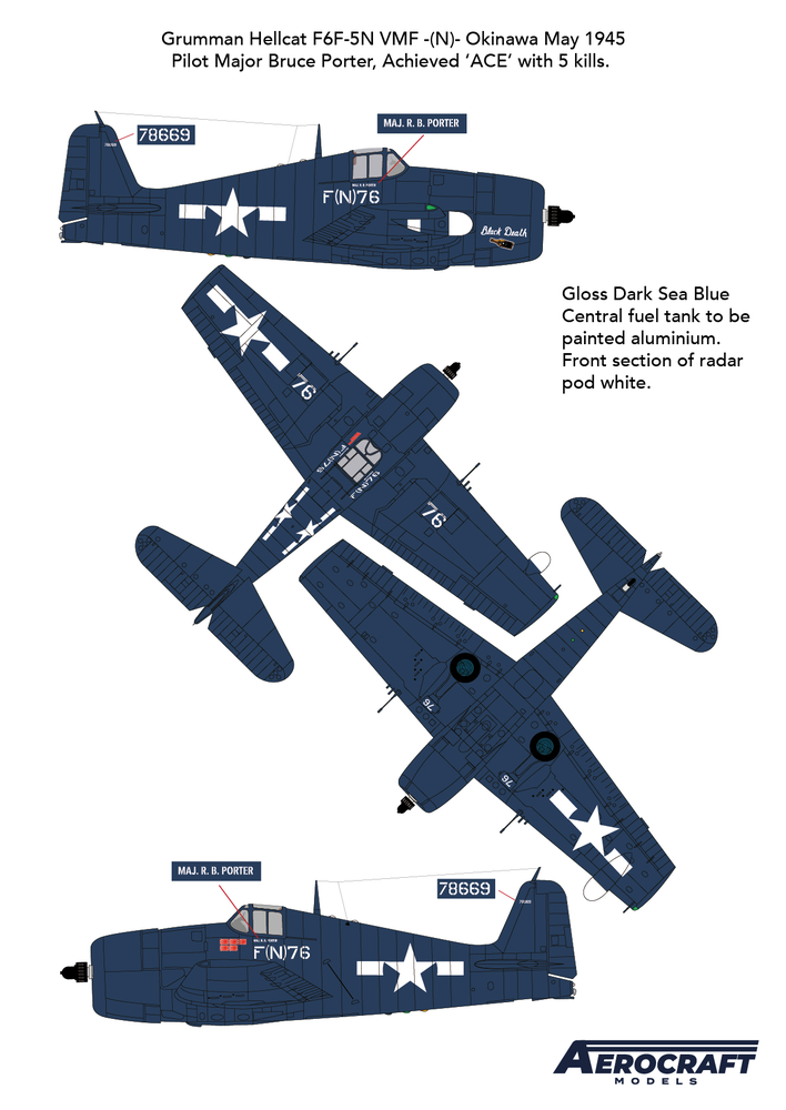 Image of Hellcat F6F-5N Night fighter conversion with decals for Black Death