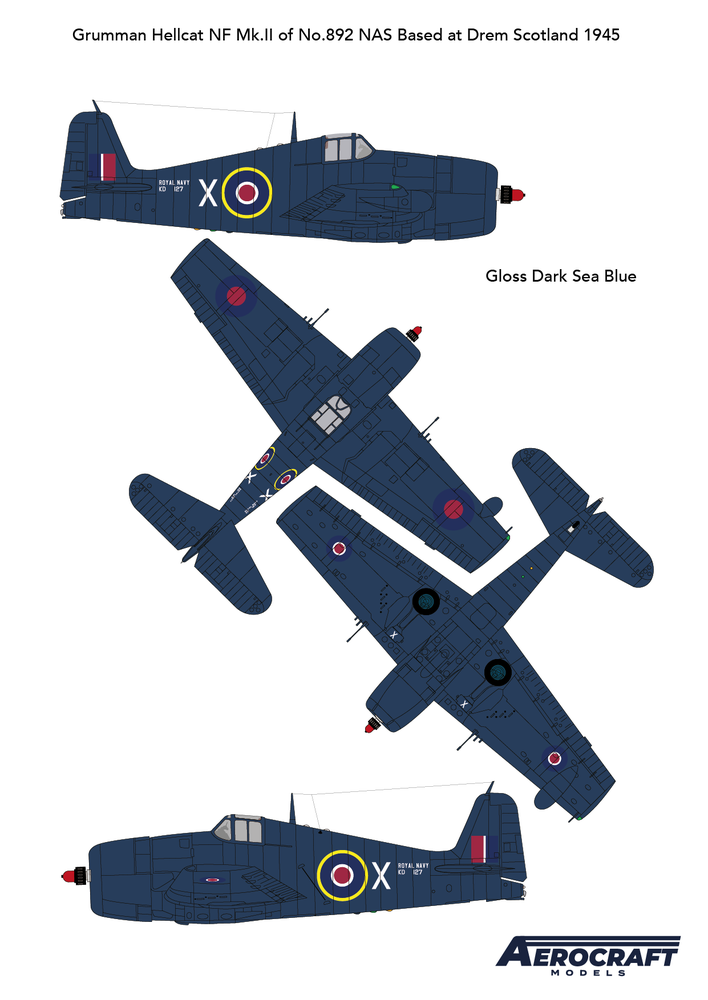 Image of Hellcat F6F-N Royal Navy Night fighter conversion with decals for KD127