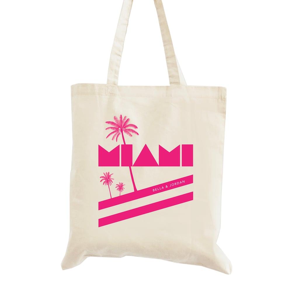 Image of Customizable Retro Miami Wedding Welcome Tote Bag