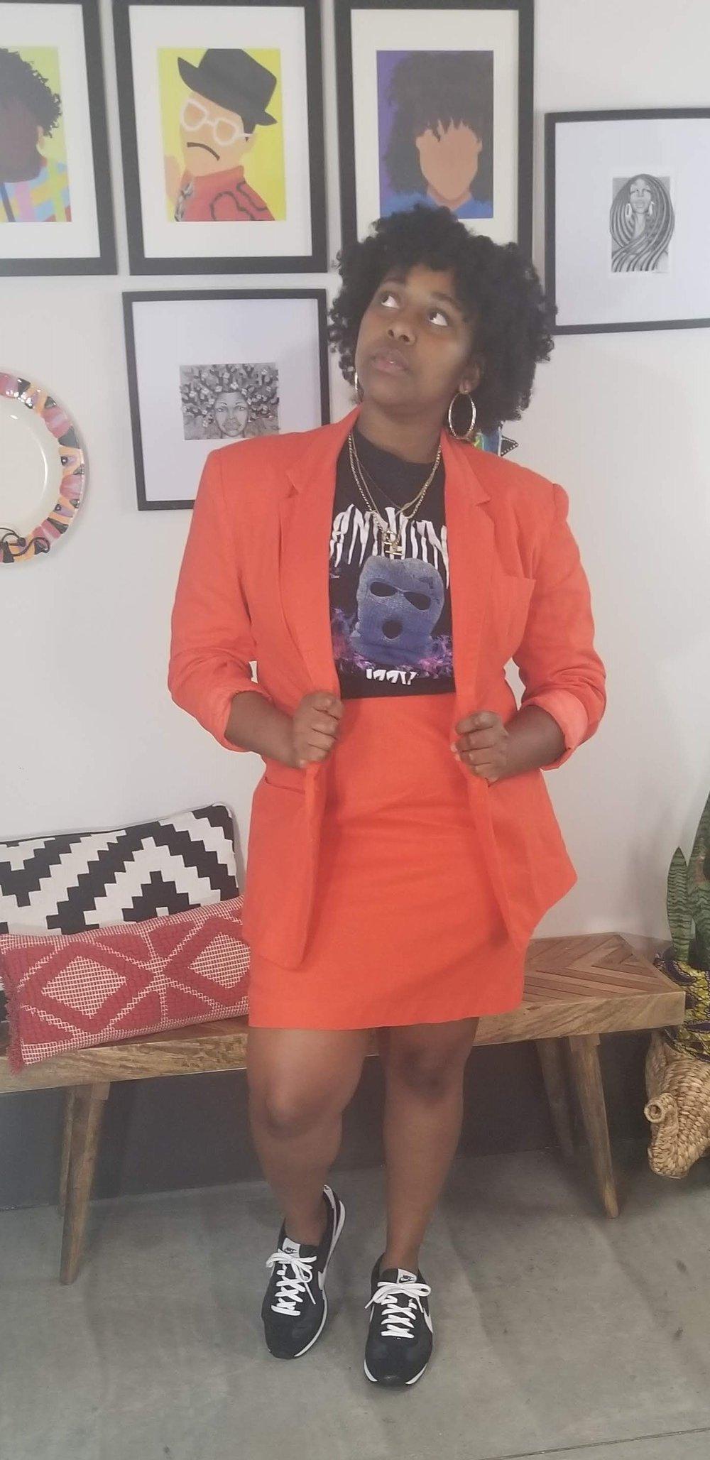 Image of 90's Pop Orange Pencil Skirt Suit Set - Women's Size 14