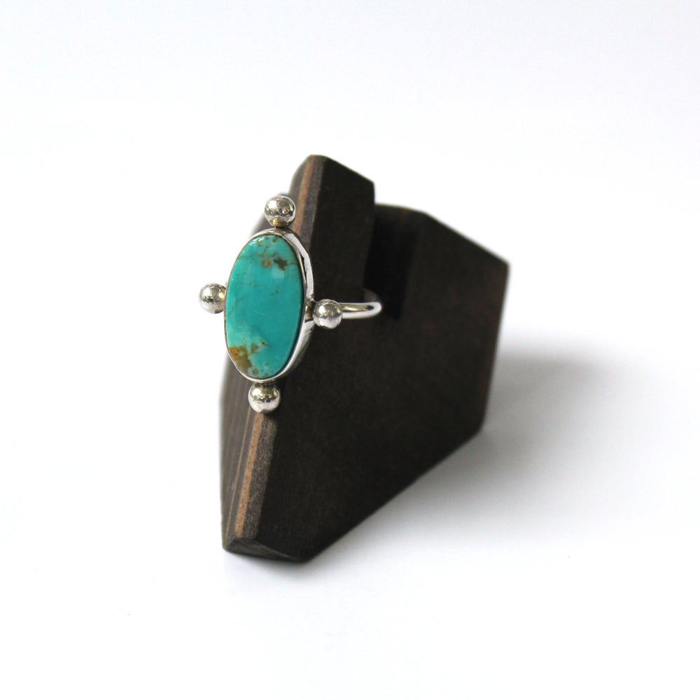 Cloud Mountain Turquoise Sterling Silver Ring - Size 7.5