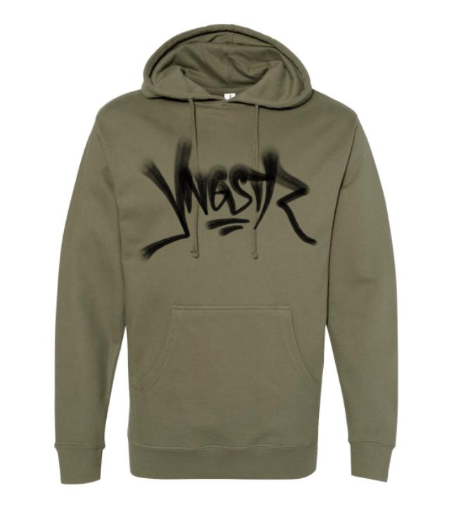 Image of YNGSTR Graffiti Flare Hoody (Military Green)