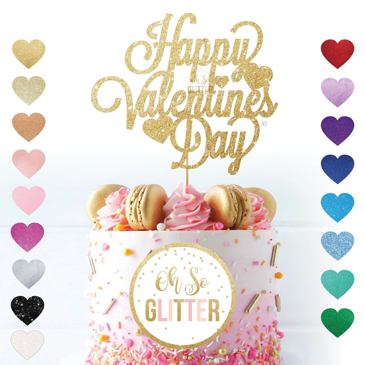 Image of Happy Valentines Day hearts Cake Topper