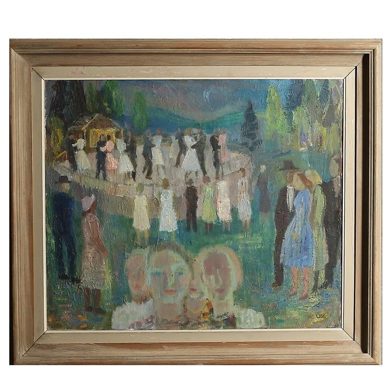 Image of 1941, Swedish Oil Painting, 'The Dance Floor,' Nils Öst