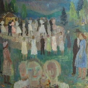 Image of 1941, Swedish Oil Painting, 'The Dance Floor,' Nils Öst
