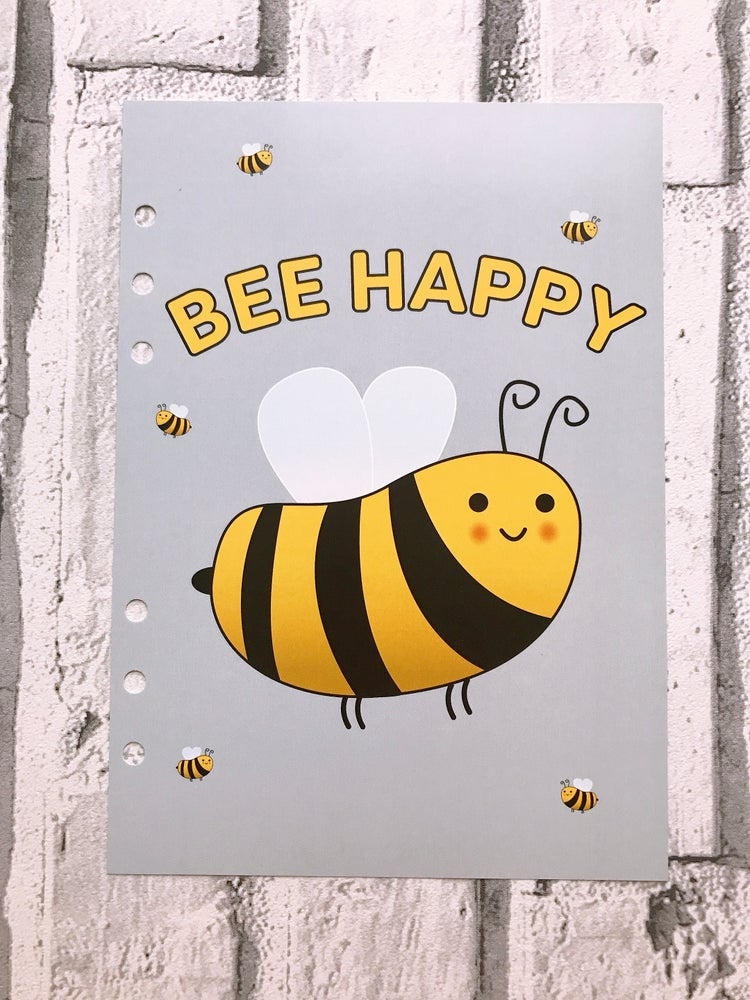 Image of A5 FOOD DIARY ORGANISER INSERT BEE HAPPY
