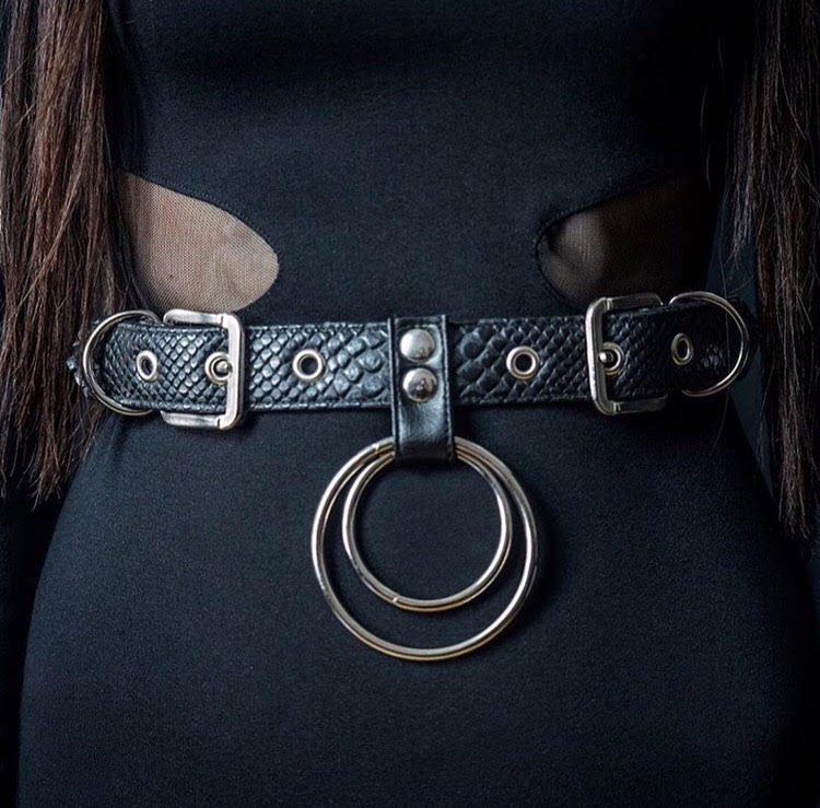 Double ring waist belt vegan snakeskin