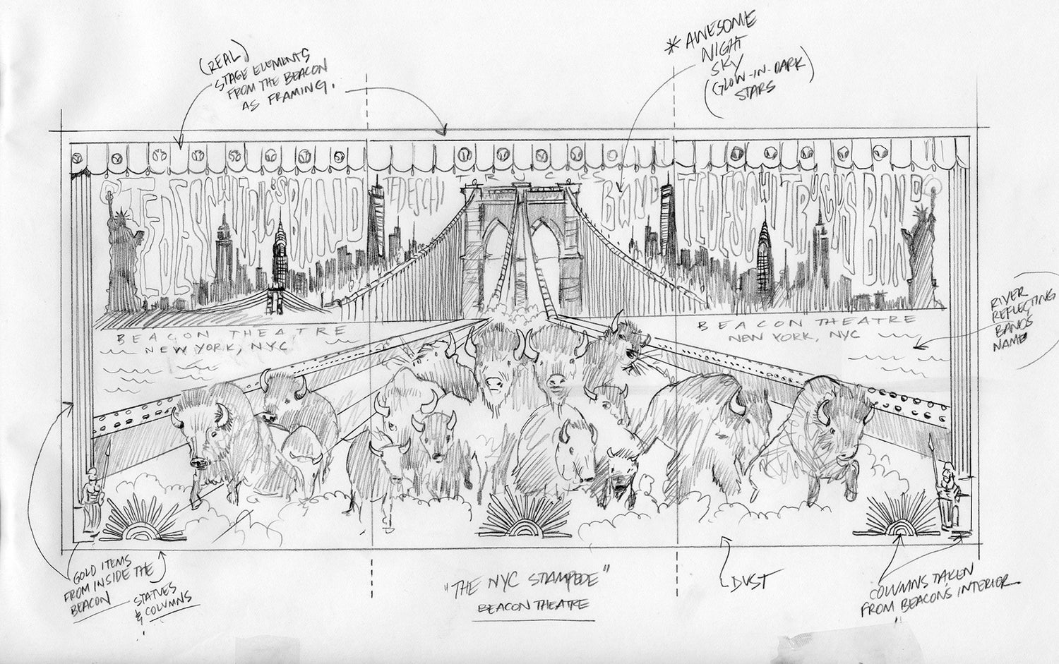 Image of ONE OF A KIND - Original sketch for Tedeschi Trucks Band Triptych