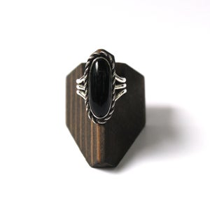 Image of Black Onyx Sterling Silver Ring - Size 8