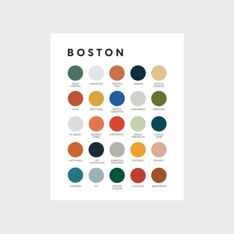 Image of Boston Icons Color Palette Print