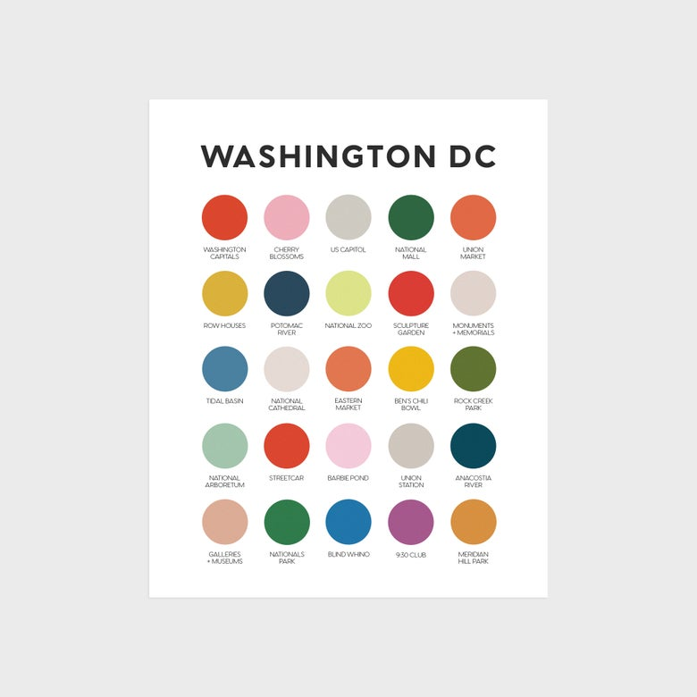 Image of Washington DC Icons Color Palette Print